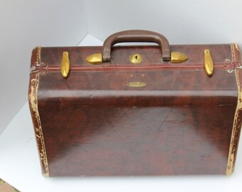 vintage Samsonite suitcase marble brown 1940s travel luggage