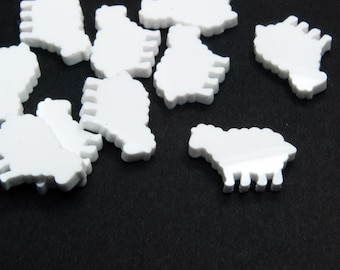 White Sheep Cabochons, Lamb, Die Cut Plastic, 11 mm - 10 pieces