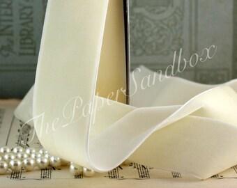"""Ivory Velvet Ribbon, 1.5"""" wide"""