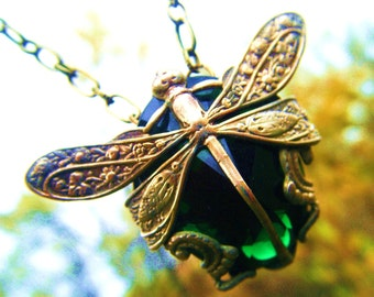 The Emerald Dragonfly Necklace-Harvest Pattern Art Nouveau with Mysterious Dark Green Glass Stone many colors made to order