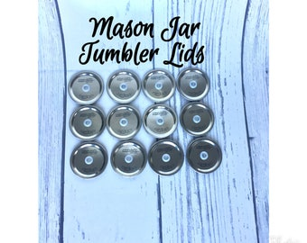Set of 12 Regular Mouth Mason Jar Lid with Hole, DIY Mason Jar Tumbler, Mason Jar Lid with Hole and Grommet, Regular Mouth Mason Jar Tumbler
