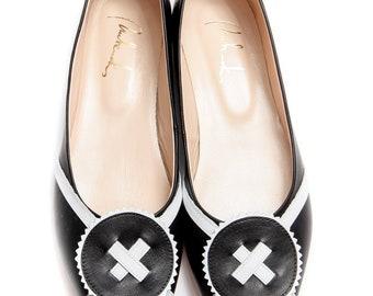 Handmade black ballet flats/ Slip ons/ Black shoes/ Bridal flats/ Women's shoes/ Wedding flats/ Elegant flats/ Wedding shoes/ Custom shoes
