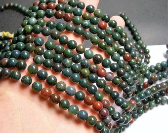 Bloodstone - 8mm round beads -1 full strand - 49 beads - A quality - RFG196