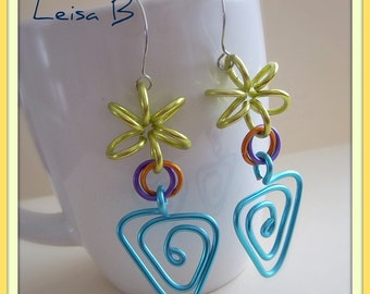 Crazy Earrings, Colorful Earrings, Turquoise Earrings, Big Earrings, Funky Earrings, Long Earrings, Aluminum Earrings,