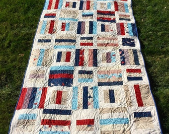Red,White and Blue Patriotic Minky Backed Quilt! One of a kind,hand crafted.