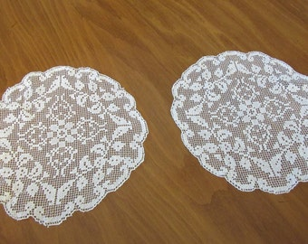 Antique Net Lace Doilies  8""