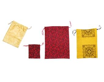 Cotton cloth bag fabric pouch set, red, black, gold, ochre flowers, shimmering and tapestry pattern, eco friendly gift wrap, made in Vienna