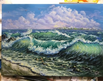 Large oil painting ocean waves painting beach decor seascape painting blue coastal landscape painting canvas art storm sea art impressionist