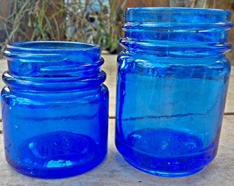 Vintage Noxzema Cobalt Blue Glass Jar And Vintage Vick's Vapor Rub Jar