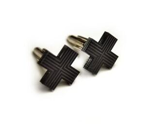 Minimal Black Cross cufflinks stripes engraved gift for him groomsman