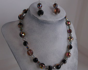 Irridized Faceted Crystal Bead Necklace and Earrings