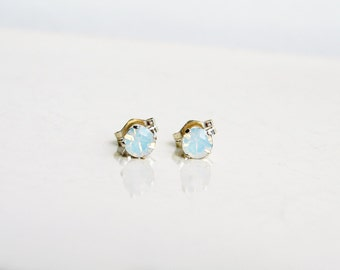 Small White Opal Earrings. Swarovski Stud Earrings. October Birthday. Sterling Silver Setting. Bridesmaid Gift. Simple Modern