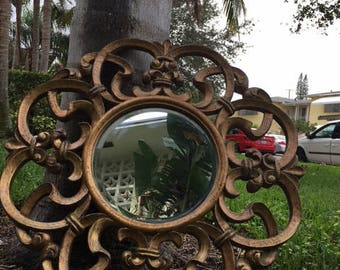 FRENCHY / REN-WIL Made In Canada 31 1/2 x 31 1/2 Fleur De-Lis Round Mirror / Paris Apt / True Gold See Second Image