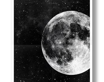 Moon Poster,Full Moon,Moon Art,Black and White,Astronomy Art.NO,275b