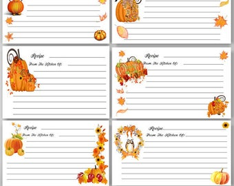 Digital, Printable Autumn Recipe Cards, Fall, Recipe, 4 x 6 recipe cards, Thanksgiving, Baking, Cooking, Digital Instant Download