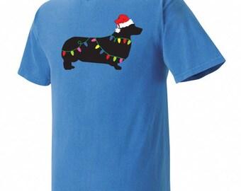 Christmas Pembroke Welsh Corgi Garment Dyed Cotton T-shirt