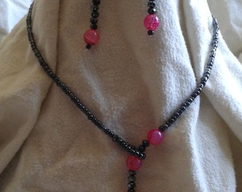 Pink and Black Faux Lariat Necklace and Earrings Set