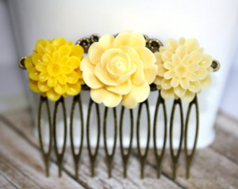 Flower Hair Comb, Bridal Accessories, Hair Accessories, Bridesmaid Gift, Collage Hair Comb, Wedding Accessory