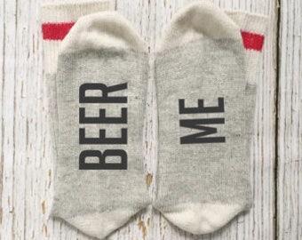 BEER ME, Beer Socks, Novelty Socks, Gifts For Dad, Gifts For Husband, Stocking Stuffer For Men, Gifts For Him, Gifts For Beer Drinker, Beer