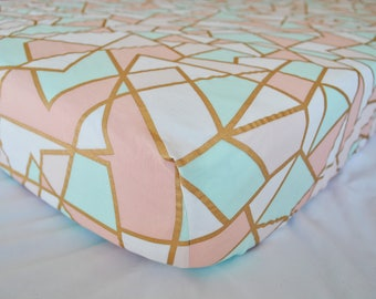 Mint,Blush and Gold Geometric - Fitted Crib/Toddler Sheet