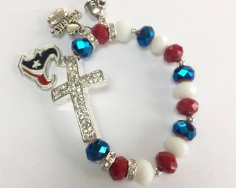 Houston Texans Cross Charm Bracelet