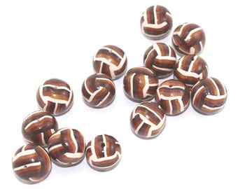 CLEARANCE SALE, Brown, bronze, gold and white beads, polymer Clay beads, unique beads, set of 15 stripes beads