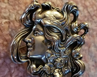 Art Nouveau Lady Face with Goose Sterling silver  Pin