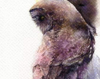 Great grey owl - ORIGINAL watercolor painting 7.5x11 inches