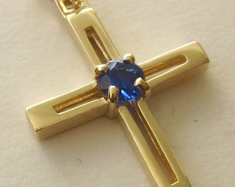 Genuine SOLID 9K 9ct Yellow GOLD Unisex September Birthstone birthday Sapphire Cross Pendant