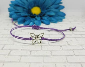 Butterfly Bracelet, Butterfly String Bracelet, Buetterfly, Macrame, Bracelet, Adjustable, String Bracelet, Silver, Spring, Insect