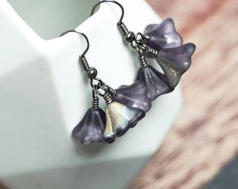 Glass Flower Trio Earrings -- Czech Glass Beaded Drops -- Glittery Floral Charm Cluster -- UK Shop