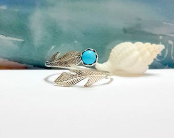 925 Sterling Silver Knuckle Ring, Blue Turquoise 4mm Knuckle Ring, Silver Leaf, Toe Ring, Adjustable Ring