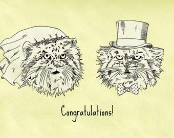 Grumpy Pallas Cats Wedding Card