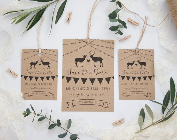 PRINTED Rustic Autumn Winter Wedding Save The Date Invitation Cards Luggage Tags - Recycled Kraft - Stag Doe Reindeer Fairy Lights Bunting
