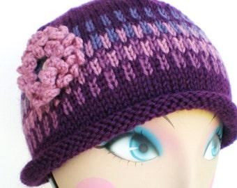 SALE - Women Wool Hand Knit Cloche Hat - Plum Gorgeous