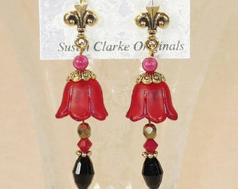 Red Tulip Earrings with Niobium posts- J-4