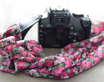 Scarf strap camera photography - Customized Strap for Nikon, Canon, etc. - Ideal woman gift - Photographer shoulder strap