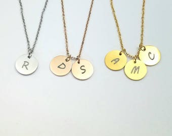 Initial Necklace Dainty Necklace Gold Disc Necklace Personalized Laser Engraved Necklace for Women