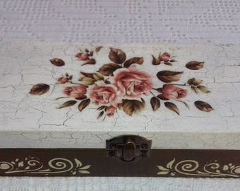 Wooden Jewelry Box Handmade Decoupage Brown Storage Box With Red Roses For Home Decor