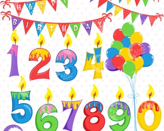 Birthday Clipart, Happy Birthday Clipart, Birthday Numbers, Birthday candles, Balloons, Birthday Banners, Commercial Use, AMB-1239