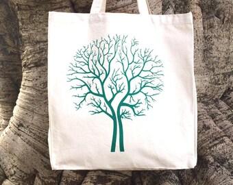 Hand Screen Printed Tree Design Cotton Canvas Tote Bag Shoulder Bag Beach Bag Grocery Bag Natural Reusable