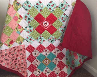 Granny square quilt, baby quilt, stroller blanket, crib quilt, girl quilt, handmade quilt, Little red riding hood quilt