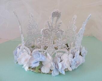 Lace Princess Crown , Baby Crown ,,Silver Crown Mini Crown ,Headband C-003