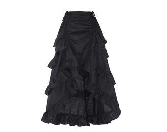 BLACK Victorian Steampunk Gothic Skirt//High Low A-Line Skirt//Ruffled Long Skirt//Sizes S-XL