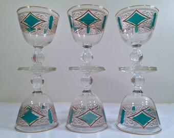 Libbey Mid-Century Emerald & 22-Karat Gold Cordial-Sorbet Glasses (Set of 6)