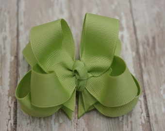 """Girls Hair Bow Lemongrass Green Double Layered 4"""" Boutique Hairbow"""