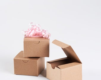12 Kraft Gift Box with lid - 3x3x2 boxes with tuck top