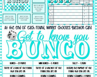 Get To Know You Bunco - Activity Days Faith In God Activity