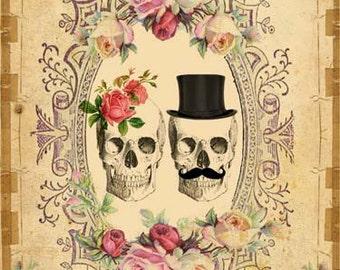 SOFORTIGE Digital DOWNLOAD - DIY druckbare gotische viktorianische Skull paar - antike Tattoo Day of The Dead - Hochzeitstag
