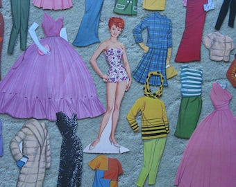 FREE SHIPPING...Vintage Lucille Ball paper doll and costumes from her early years, formals, sporty, mid-century fashions